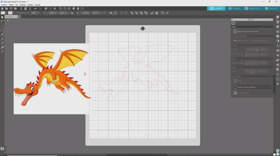 contorno del dragon trazado en silhouette studio