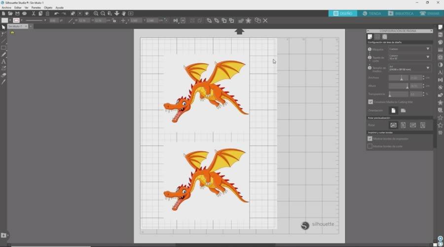 dragones dentro del area de impresion silhouette